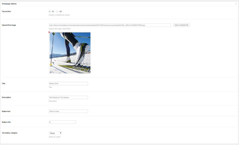 homepage option