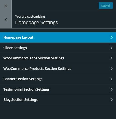 giga store woocommerce theme - homepage setup
