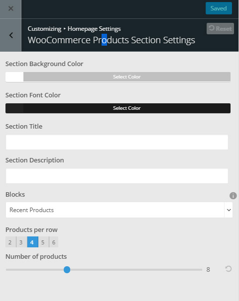 giga store woocommerce theme - products section