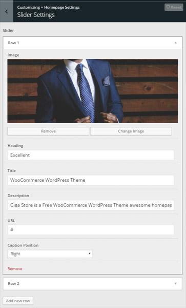 giga store woocommerce theme - slider setup