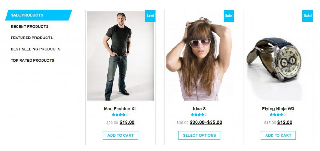 giga store woocommerce theme - tabs section - demo
